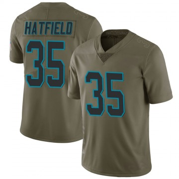 Men's Dominique Hatfield Carolina Panthers Limited Green 2017 Salute to Service Jersey
