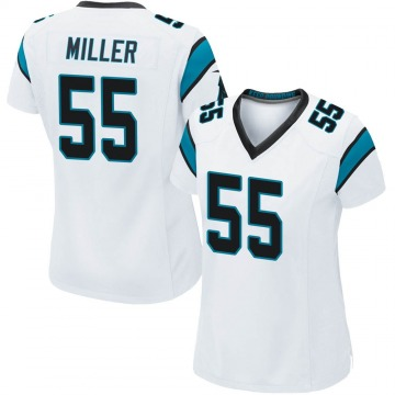 Women's Christian Miller Carolina Panthers Game White Jersey